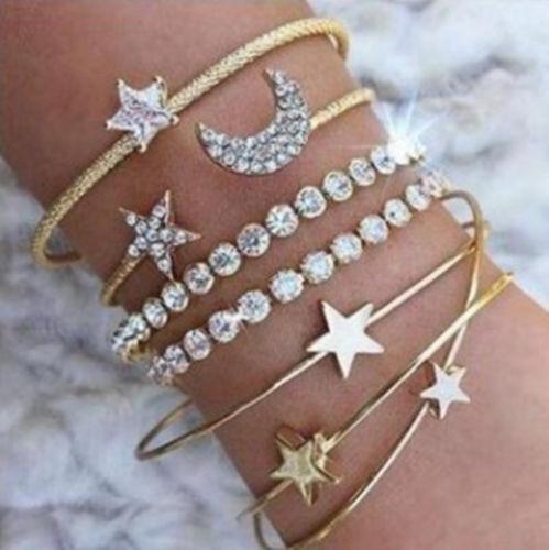 6Pcs//Set Fashion Women Boho Gold Silver Bracelets Rhinestone Bangle Cuff Jewelry