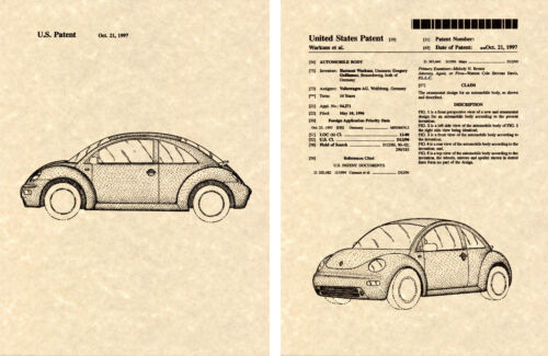 VW New BEETLE BUG Patent Art Print READY TO FRAME! 1998 to present Volkswagon