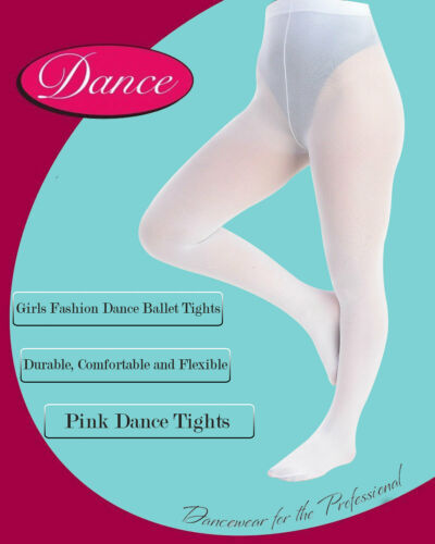 Girls Chic Dance Ballet Fashion Tights 3 to 12 Years White Pink or Nude