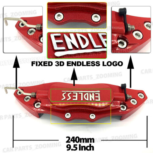 Metal Red ENDLESS Style 4Pcs Front /& Rear Universal Disc Brake Caliper Cover L+M