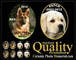 PERSONALIZED-PET-CERAMIC-PHOTO-MEMORIAL-GRAVE-STONE-MARKER-DOG-GraveStone-Plaque