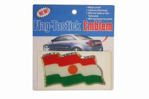 3.5 X 2 INCH NIGER COUNTRY  FLAG BUMPER STICKER FLAG-TASTICK EMBLEM..SIZE
