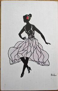 Silhouette-1920-HL-Artist-Signed-Postcard-Ballet-Dancer-Dancing-Woman