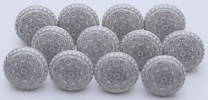 Grey & White Ceramic Knobs Kitchen Cabinet Door Handle Cupboard Drawer Pulls Fs Art De La Broderie Traditionnelle Exquise