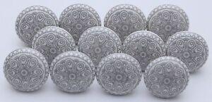 Grey & White Ceramic Knobs Kitchen Cabinet Door Handle Cupboard Drawer Pulls Fs