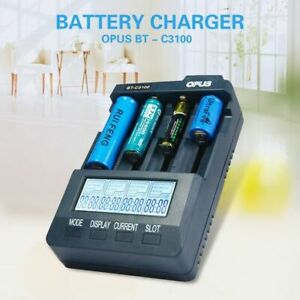 C3100 V2.2 Digital Intelligent 4 Slots Lcd Battery Charger Compatible Opus Bt