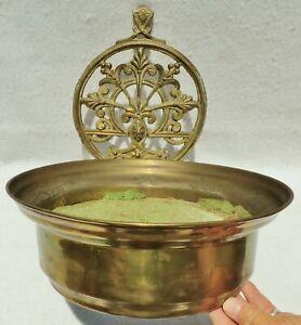 Large-Antique-Vtg-14-034-Ornate-Heavy-Brass-Bronze-Hanging-Wall-Pocket-Planter-Pot