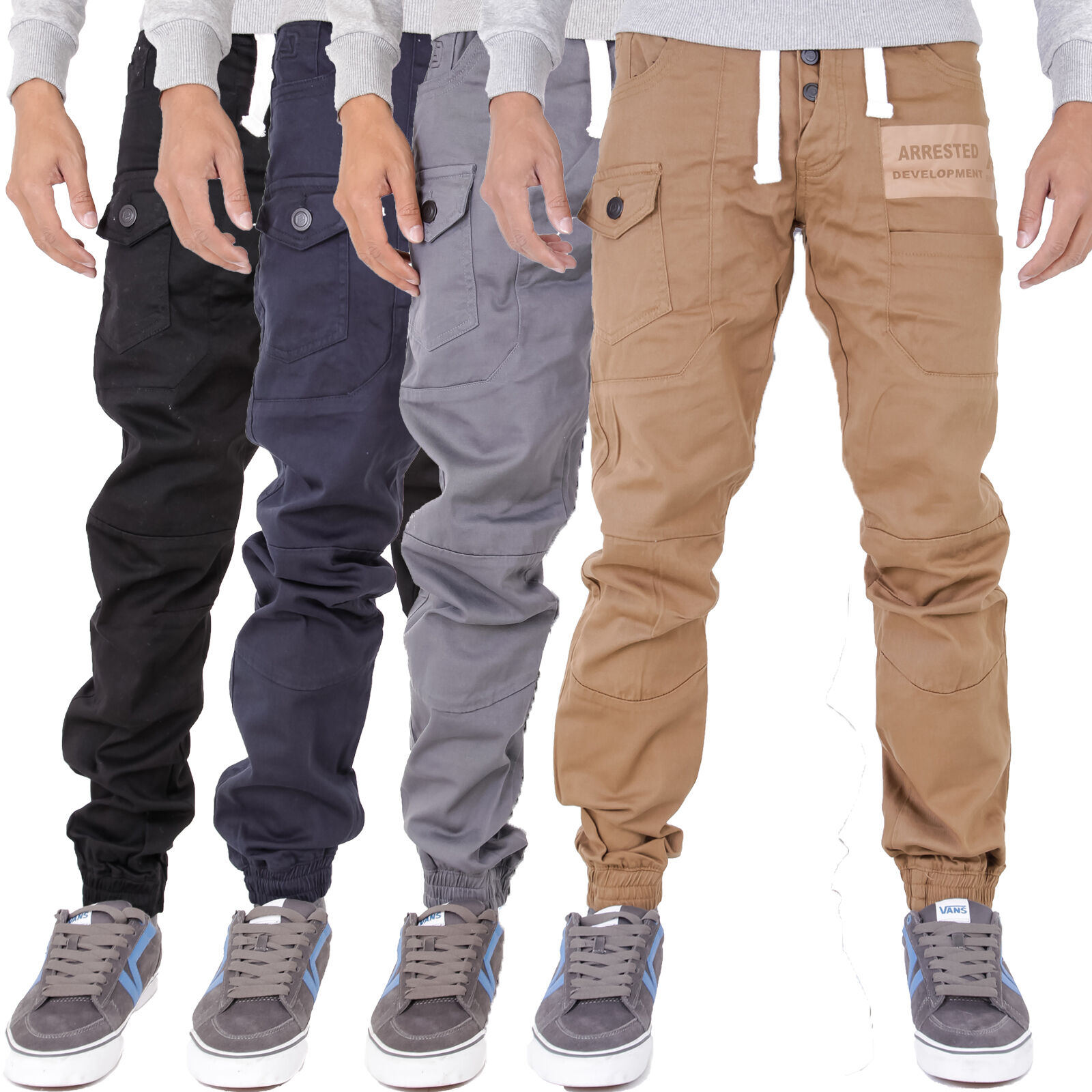 Mens Branded Arrested Development Skinny Tapered Fit Navy Chino Sizes 28-40