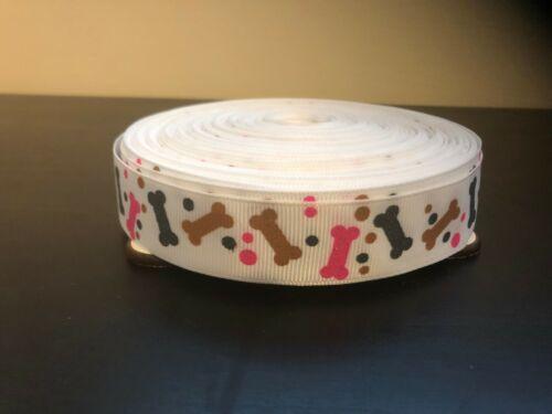 Blanco 22mm Cinta 1m Dog Bone Brillo Rosa Gris