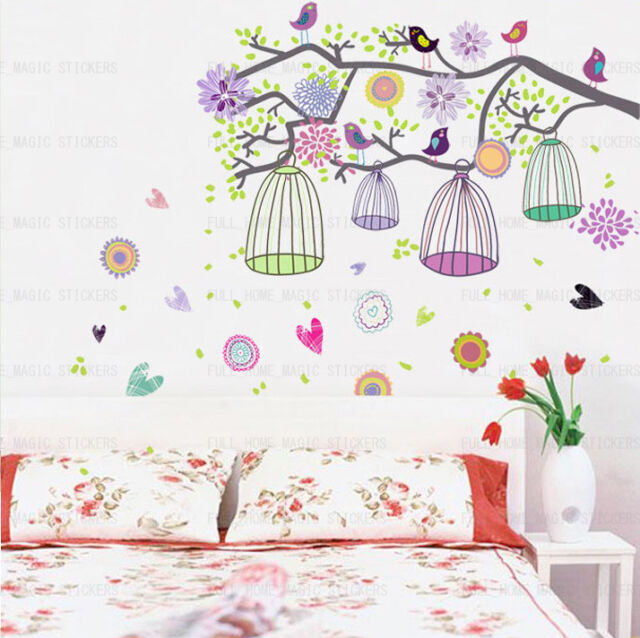 Huge Colourful Flowers Bird Cage & Tree Wall Stickers Art Decal Paper Girls Room