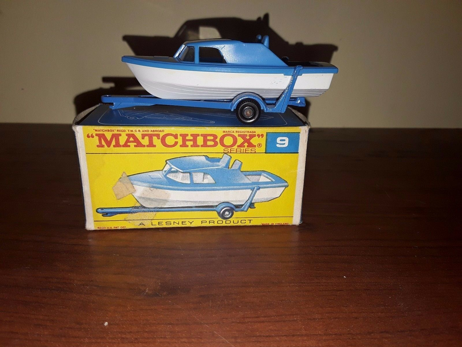 Matchbox Cabin Cruiser Boat Trailer & Box