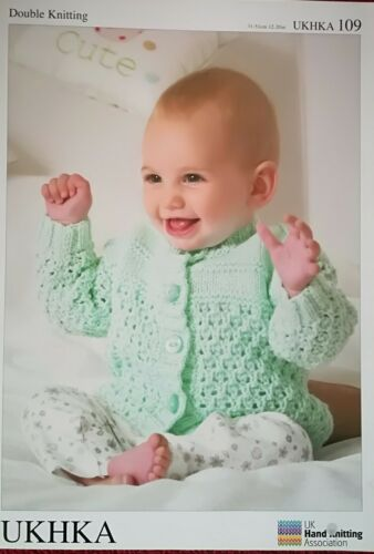 "UKHKA Knitting Pattern DK Baby Cardigans Four Styles 12-20/"" Chest #109"