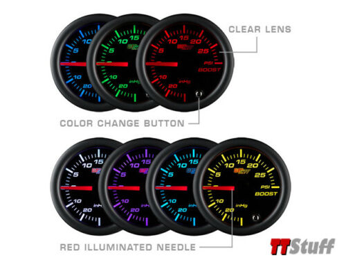Vacuum Gauge 52mm GlowShift Black 7 Color LED Clear Lens 2 BAR Turbo Boost