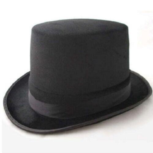 Mens Gents Unisex Top Hat Indestructible Men/'s Velour Topper Black New Smiffys.