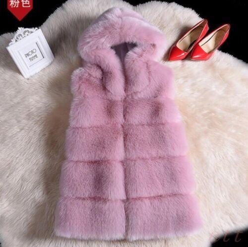 Womens Faux Fur Hooded 5 Colors Mid Long Vest  Waistcoat Jacket Sleeveless Coat