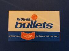 1968/69 Baltimore Bullets Pocket Schedule National Beer