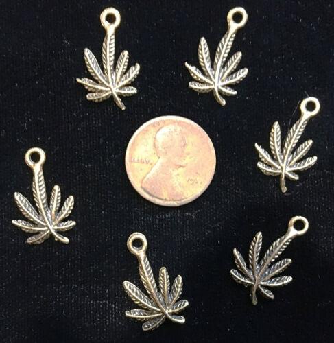 6 SIX Antique Gold Pewter MARIJUANA CHARMS Cannabis Pot