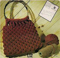 Liz Bamboo Handle Macrame Handbag Pattern 1970s 7107 Purse Strings Vol. 2