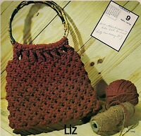 Liz Bamboo Handle Macrame Handbag Pattern 1970s 7107 Purse Strings Vol. 2