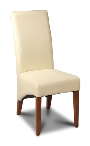 CREAM LEATHER ROLLBACK DINING CHAIR (A4DR)