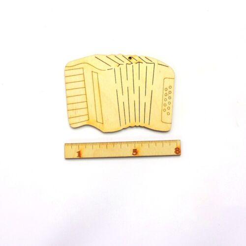 8 cm 5er Set Musikinstrument Geschenk Geldgeschenk Musiker Akkordeon aus Holz