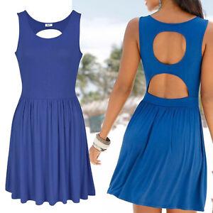 sexy-Ruecken-Kleid-Gr-38-40-Strandkleid-Mini-Sommerkleid-Jersey-Shirtkleid-BLAU
