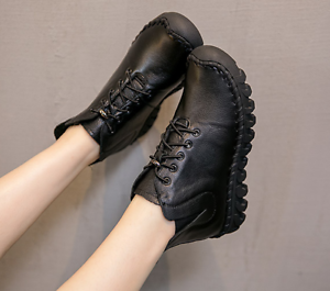 Womens Autumn leather ankle boots Comfy Soft low heel lace up shoes Camel/Black