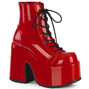 Demonia CAMEL-203 Red Funk Costume Disco Chunky Platform Heel Women's Ankle Boot