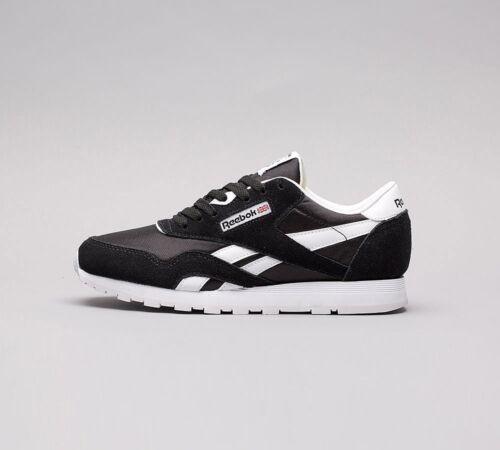 £39.99 Junior Reebok Classic Nylon Black//White Trainers RRP