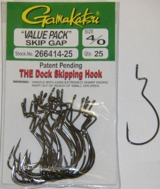 """Gamakatsu Skip Gap Bass Fishing Hooks /""""value Pack/"""" 266414-25 Size 4//0 25 PK NSB for sale online"""