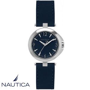 Nautica-NAD09515L-NLC-105-Armband-Uhr-Damen-Leder-blau-NEU