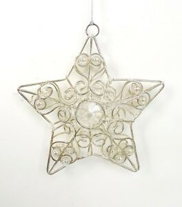 image is loading new silver wire amp iridescent star holiday christmas