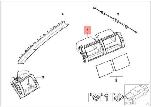 Genuine BMW E46 Cabrio Compact Central Dashboard Air Vent OEM 64228363199
