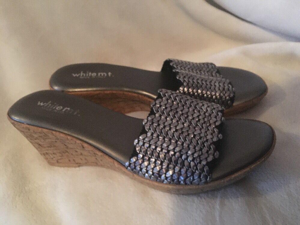 WHITE MT LISETTE Sandals Cork Wedge Heels ITALY NEW SZ 7.5 M
