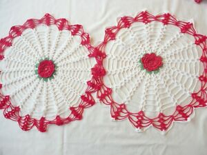2 Doilies  Hand Crochet Pink Red Flower Centers Round Assorted Sizes