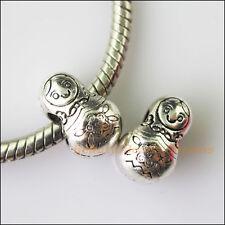 3Pcs Antiqued Silver Russian Dolls Spacer Beads fit European Charm Bracelets