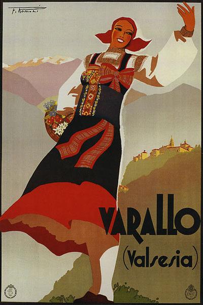 VARALLO VALSESIA ITALIAN GIRL BASKET OF FLOWER ITALY TRAVEL VINTAGE POSTER REPRO