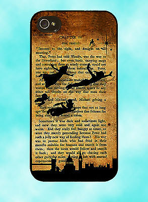 Disney Peter Pan Tinkerbell Book Case Cover Mobile Quotes Phone iPhone 4 / 4S /5