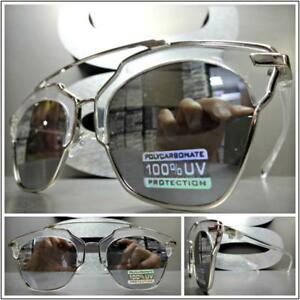 b312ac468 Image is loading Men-Women-Vintage-Retro-Style-SUN-GLASSES-Transparent-