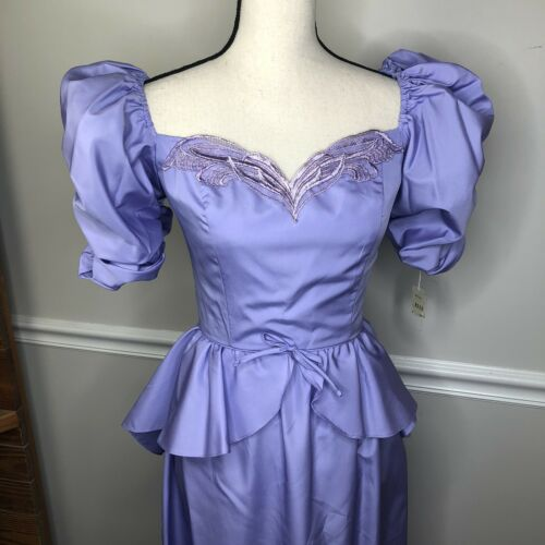 Vintage 80's Party Prom Dress Puff Sleeves Big Bow