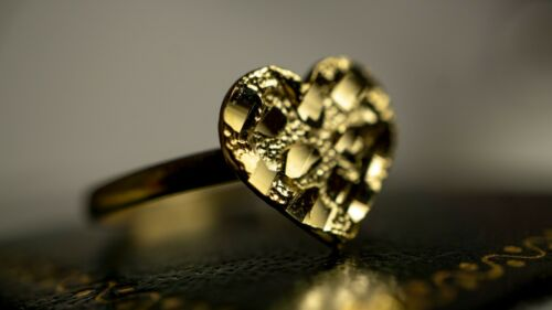 Authentic 10k Gold Flat Heart Nugget Rings for Girls /& Women 2 Sizes