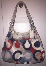 Coach Ashley Op Art Scarf Print Red/Blue/White Shoulder Bag F23955