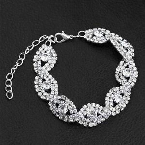 Elegant Women Crystal Rhinestone InfinityBangle BraceletDeluxe Jewelry Gift DIUK