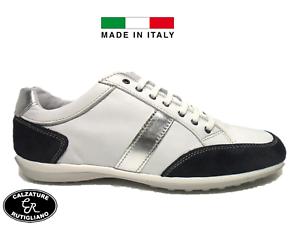 half off 6331a 71c1b Dettagli su JOHN LUIS art.628 SCARPE UOMO MODELLO SNEAKERS MADE IN ITALY IN  PELLE BIANCO-BLU