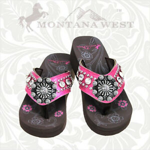 cfdf146c87587a Montana West Bling Bling Hot Pink Flip Flops with Rhinestones Wedged ...