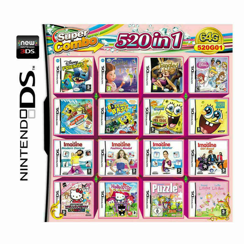 520 in 1 Games Card Cartridge For Nintendo NDS NDSL 2DS 3DS NDSI Game Consoles 1