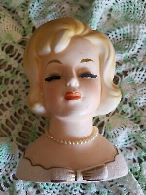 flowers collectible Southern Belle with Hat figurine Vintage 1959 Lady Head Vase Napco C3812C 6 planter
