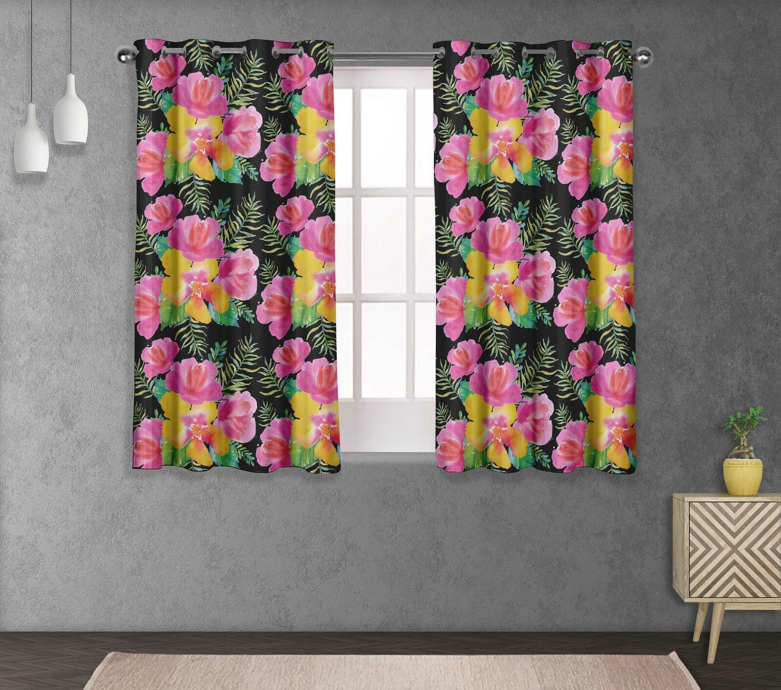 S4sassy Flower Living Room Eyelet Curtain Drapers -FL-675A