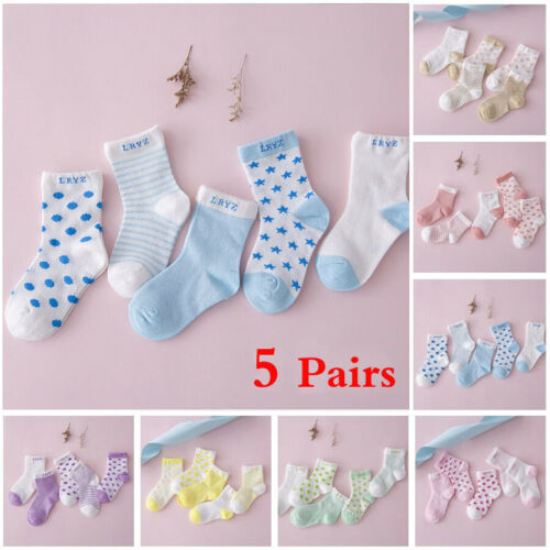 Lot 5 Pairs Infant Baby Toddler BOY Socks Cotton 0~5Y Girl Cartoon NewBorn Kids