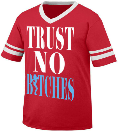 Trust No Bit** Lying Deceiving Woman Rap Hip Hop Pop  Retro Ringer T-shirt